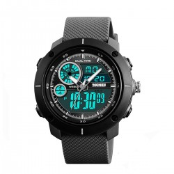 SKMEI Mens Black Dual Time...