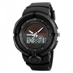 SKMEI Mens Dual Time Solar...