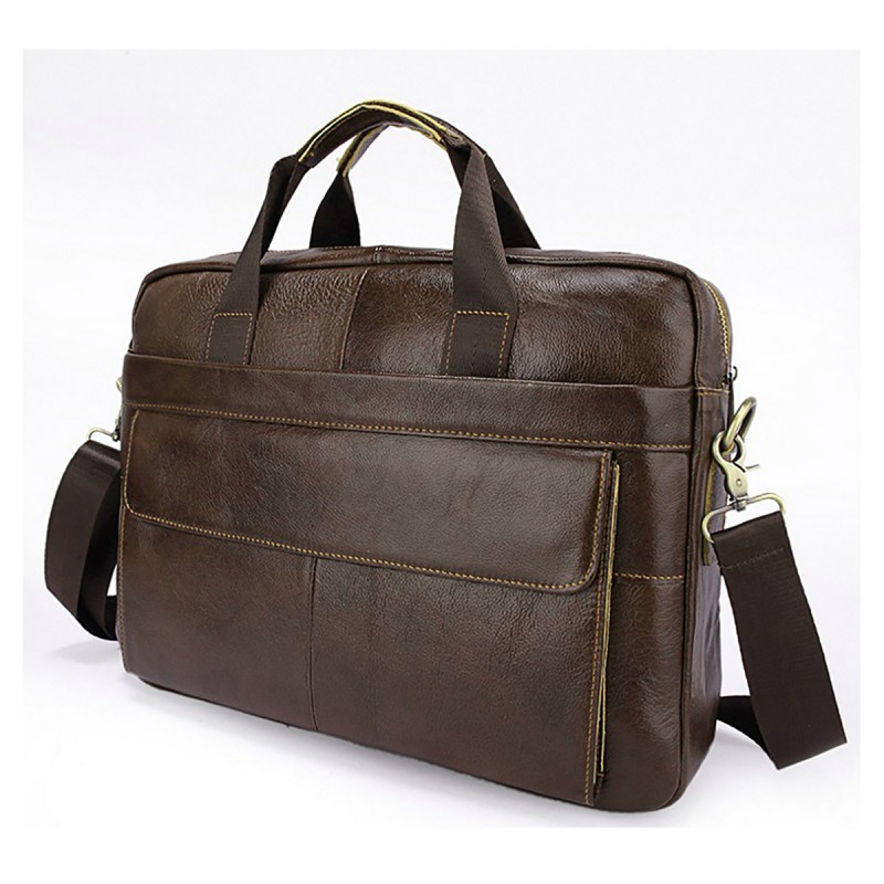 cad29c5ff This is a high quality soft brown leather messenger bag by Charles William.  It features a main central pocket which can fit a laptop up to 15 inches.