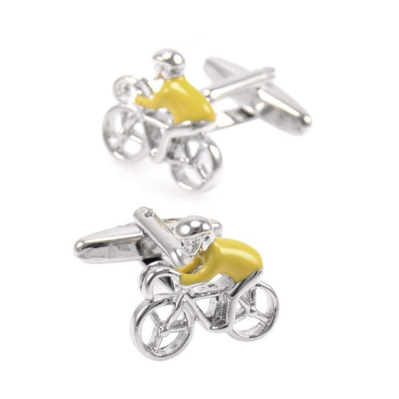 This listing is for an elegant pair of cycling cufflinks. They feature a  cyclist wearing a yellow jersey inspired by the Tour De France leader jersey . ee002ad03